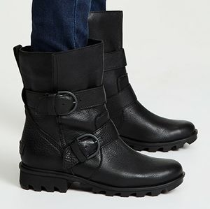 Sorel Black Leather Phoenix Moto Waterproof Boots